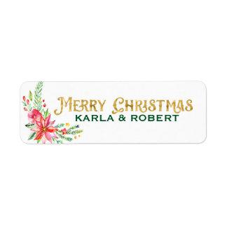 Etiqueta Tipografia do ouro do Feliz Natal e buquê floral