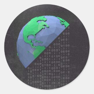 Etiqueta tipográfica - planeta do código binário