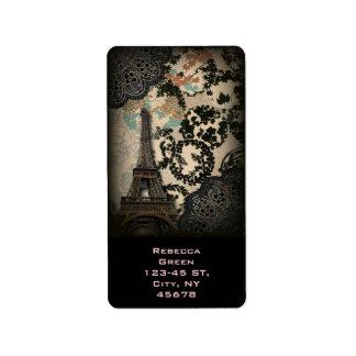 Etiqueta torre Eiffel floral preta boémia de Paris do