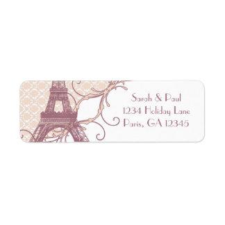 Etiqueta Torre Eiffel malva do vintage do damasco de prata