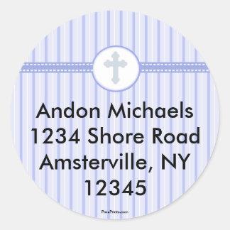 Etiqueta transversal azul listrada do endereço do adesivo