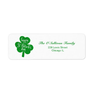 Etiqueta Trevo do dia de St Patrick feliz do brilho verde