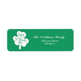 Etiqueta Trevo do dia de St Patrick feliz verde & branco