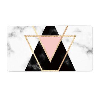 Etiqueta Triângulos, ouro, preto, rosa, mármores, colagem,