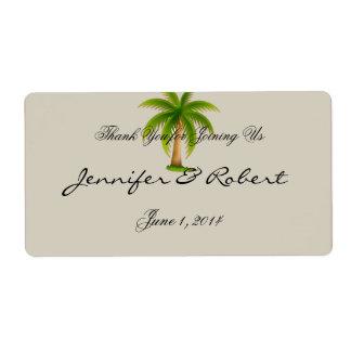 Etiqueta tropical da garrafa de água da palmeira