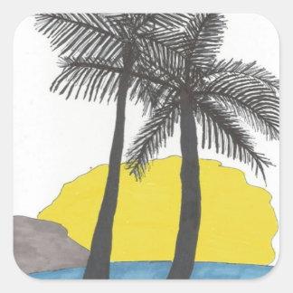 Etiqueta tropical da palmeira