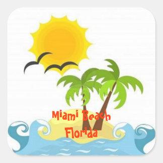 Etiqueta tropical de Miami Beach Florida Adesivo Quadrado