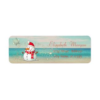 Etiqueta Tropical, praia, boneco de neve, flocos de neve