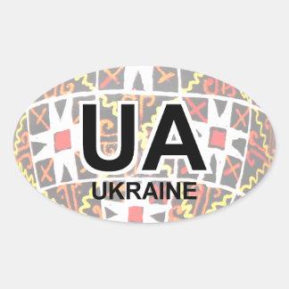Etiqueta ucraniana do automóvel do ovo da páscoa adesivo oval