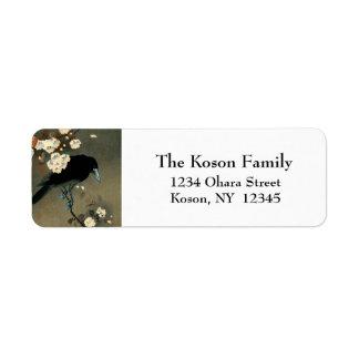 Etiqueta Um corvo e uma flor pelo vintage de Ohara Koson