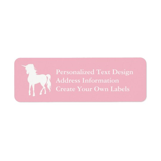Etiqueta Unicórnio rosa pálido e branco