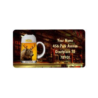 Etiqueta Urso com o engraçado legal do proprietário do bar