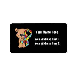 Etiqueta Urso da consciência do autismo