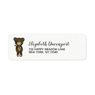 Etiqueta Urso de Brown bonito com flor amarela