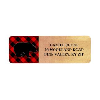 Etiqueta Urso vermelho do lenhador da xadrez do búfalo
