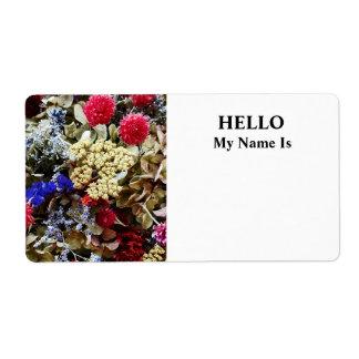 Etiqueta Variedade de flores secadas