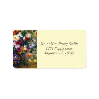 Etiqueta Vaso de belas artes de Renoir dos crisântemos
