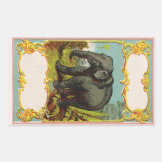 Etiqueta vazia personalizada do elefante dos 1880s