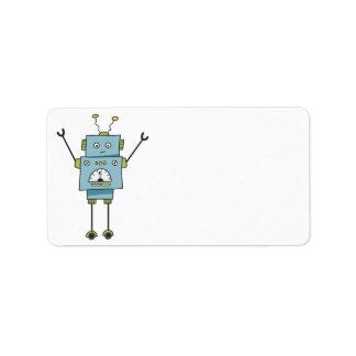 Etiqueta Vazio azul feliz bonito do robô