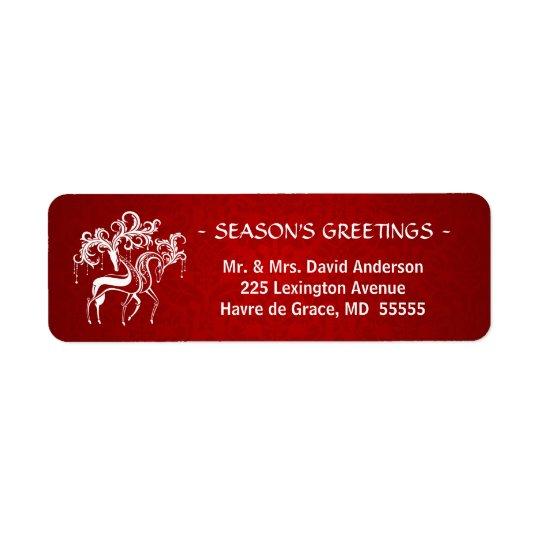 Etiqueta Veado e gama românticos do Natal - vermelho e