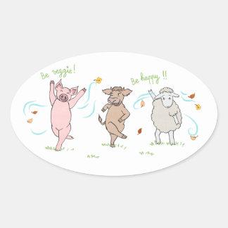 Etiqueta vegan: porco, vaca e carneiro