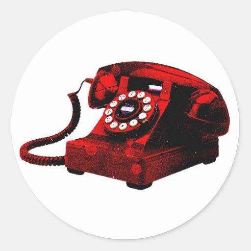 Etiqueta velha da caixa de telefone da mesa do pop adesivo redondo