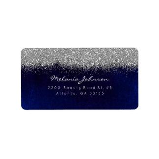 Etiqueta Veludo azul do marinho do brilho Sparkly de prata