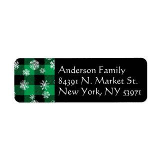 Etiqueta Verde da xadrez do búfalo do floco de neve