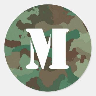 Etiqueta verde de Camo com monograma branco