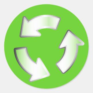 Etiqueta verde do círculo do ciclo das setas do