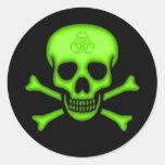 Etiqueta verde do crânio do Biohazard Adesivo Em Formato Redondo