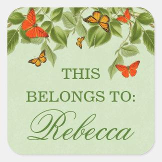 Etiqueta verde do nome da borboleta & da natureza