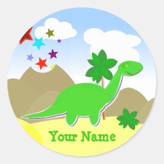 Etiqueta verde do nome do dinossauro do Diplodocus Adesivos Em Formato Redondos