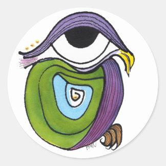 Etiqueta verde do papagaio, redonda