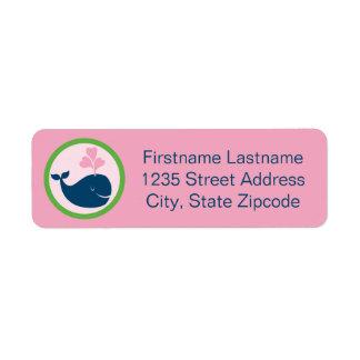 Etiqueta Verde do rosa dos azuis marinhos da baleia das