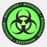 Etiqueta verde do símbolo do Biohazard Adesivos Redondos