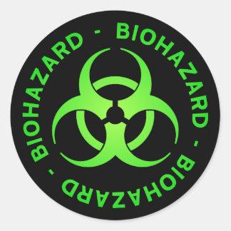 Etiqueta verde do símbolo do Biohazard Adesivo