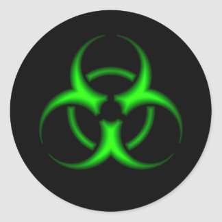 Etiqueta verde do símbolo do Biohazard Adesivo Em Formato Redondo