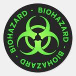 Etiqueta verde do símbolo do Biohazard Adesivo Redondo