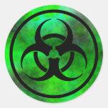 Etiqueta verde do símbolo do Biohazard da névoa