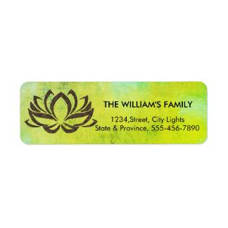 Etiqueta Verde do vintage da ioga da flor de Lotus