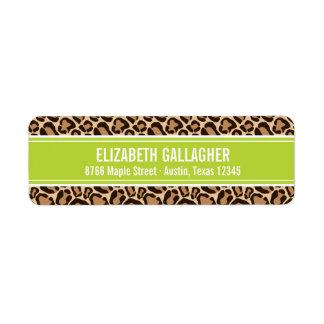 Etiqueta Verde e impressão do leopardo