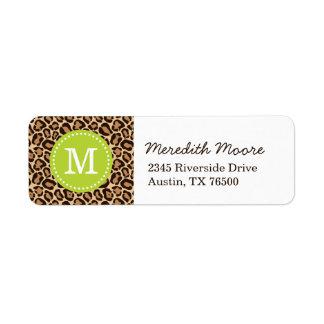 Etiqueta Verde e monograma do costume do impressão do leopa