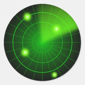 Etiqueta verde e preta do radar