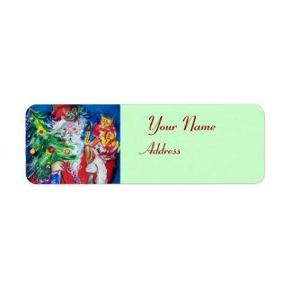 Etiqueta Verde vermelho de PAPAI NOEL, de ÁRVORE de NATAL E