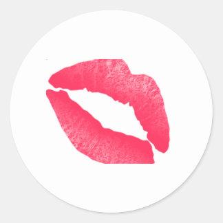 Etiqueta vermelha da aguarela do beijo do batom