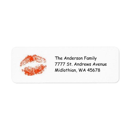 Etiqueta vermelha de Avery do endereço do remetent