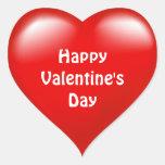 Etiqueta vermelha do amor do coração do feliz dia adesivos em forma de corações
