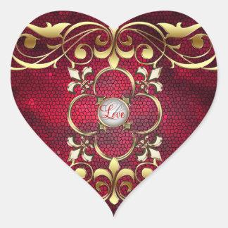 Etiqueta vermelha do amor do vitral do coração do adesivos em forma de corações