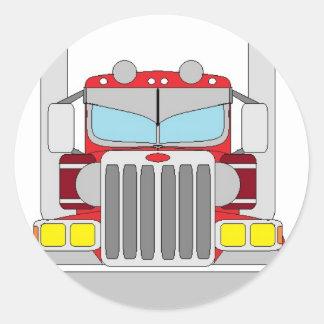 etiqueta vermelha do caminhão adesivos redondos